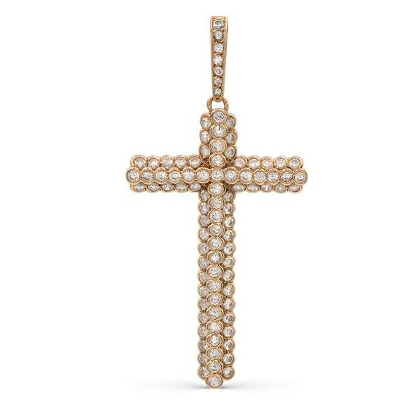 Cartier, pendente croce in oro giallo 18kt