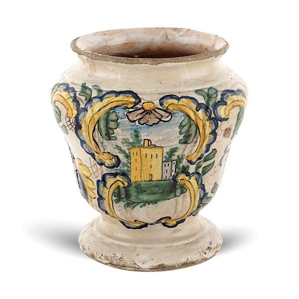 Vaso in ceramica policroma