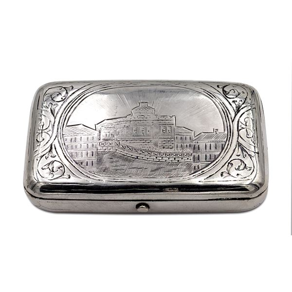 Tabacchiera in argento e niello