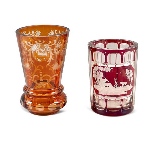 Due bicchieri in cristallo molato
