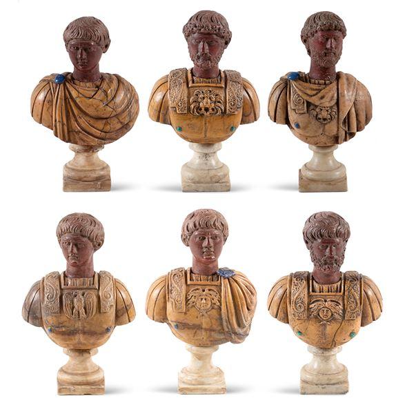 Collezione di busti in marmi policromi (6)