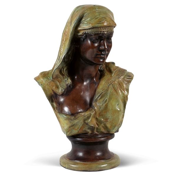 Busto in bronzo dipinto in policromia
