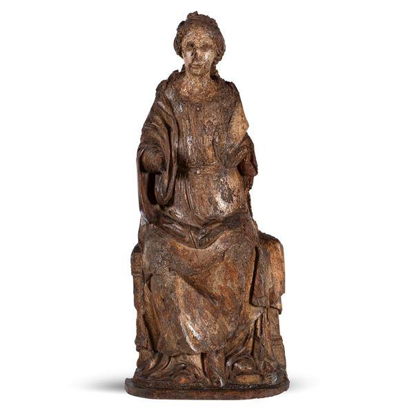 Scultura lignea raffigurante Madonna su trono