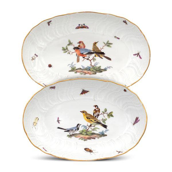 Meissen, coppia di raviere in porcellana