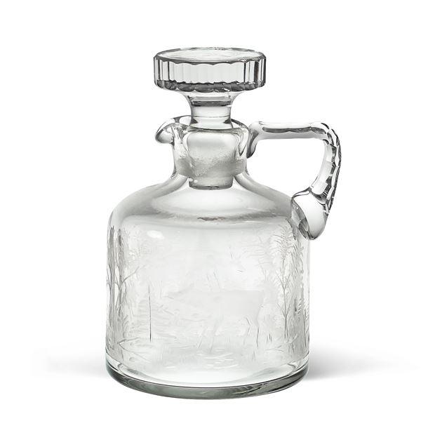 Bottiglia da liquore in cristallo inciso