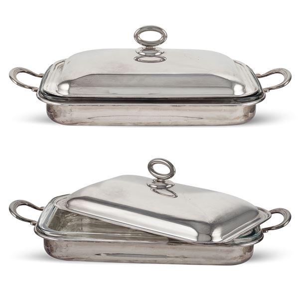 Due legumiere rettangolari in metallo argentato con interno in pyrex