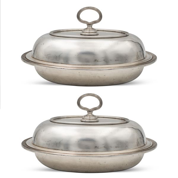 Coppia di legumiere ovali in argento,  G. Petochi Roma