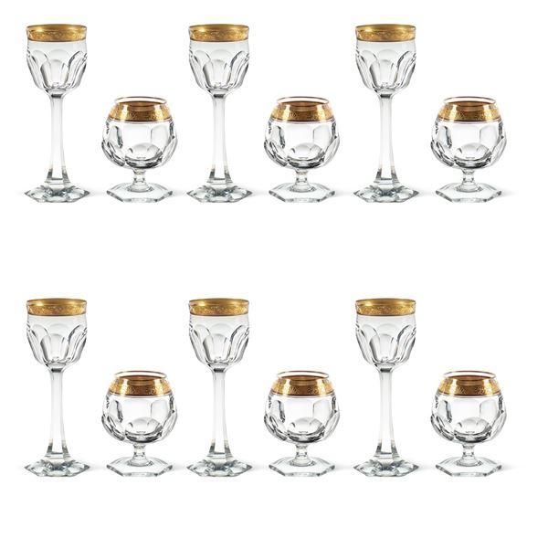 Set di bicchieri da liquore in cristallo profilato in oro (12)