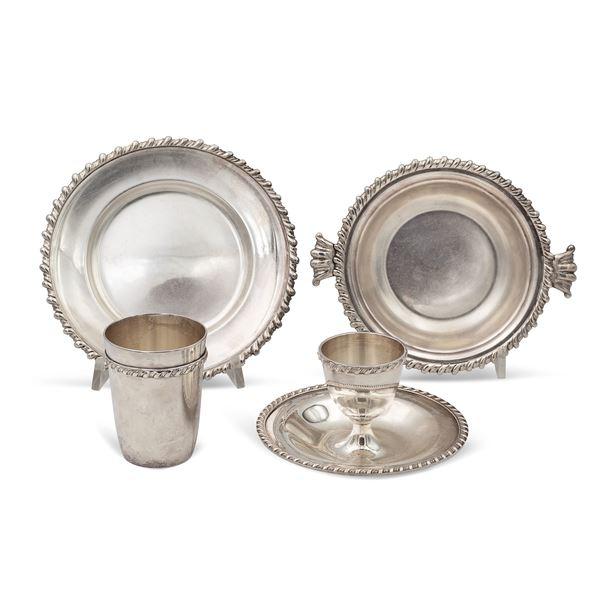 Servizio da colazione in metallo argentato, (4)
