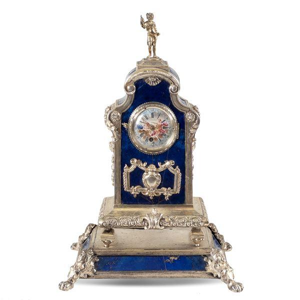 Orologio da tavolo in argento e lapislazzulo