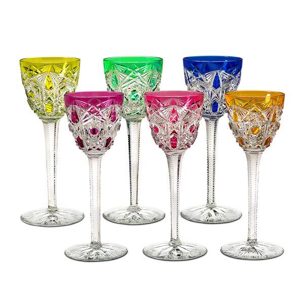 Baccarat, servizio di bicchieri in cristallo colorato (18)