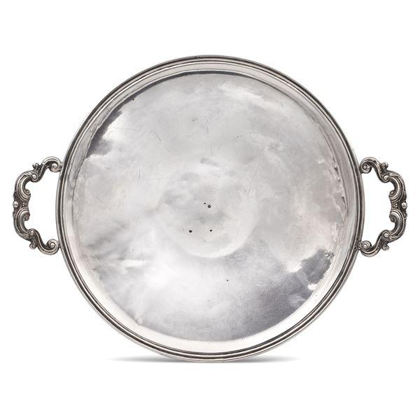 Vassoio in argento a due manici