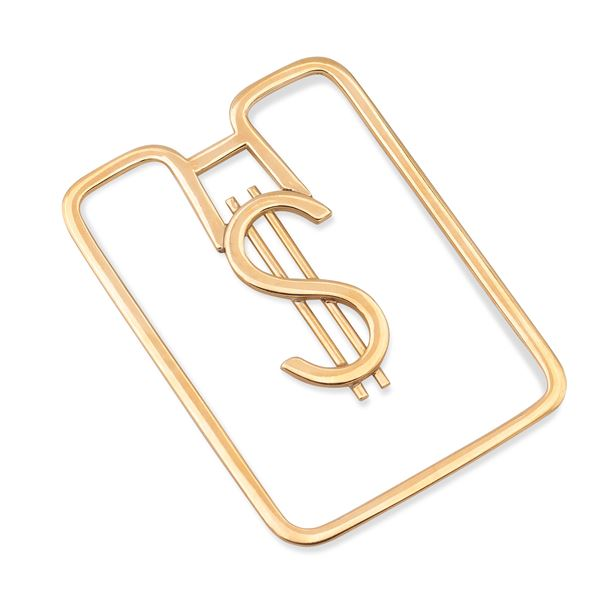 Fermasoldi Dollaro in oro giallo 18kt