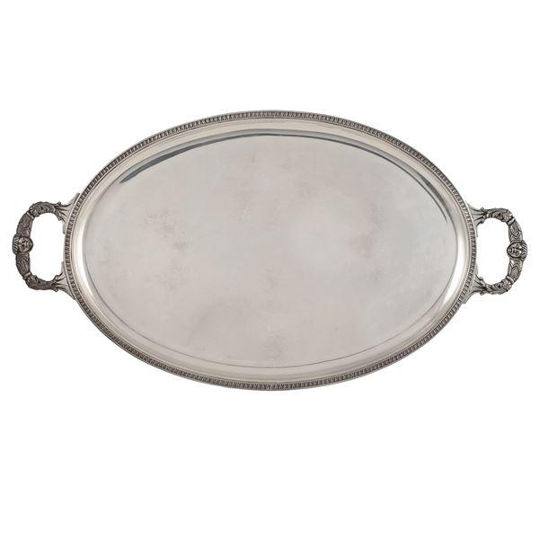 Vassoio ovale in argento a due manici