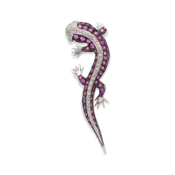 Spilla geco in oro bianco 18kt con zaffiri rosa e diamanti