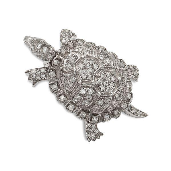 Spilla tartaruga in oro bianco 18kt e diamanti