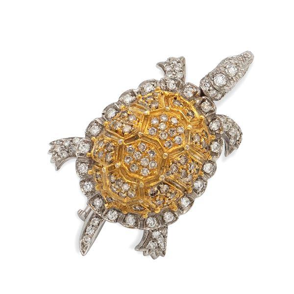 Spilla tartaruga in oro bianco e giallo 18kt e diamanti