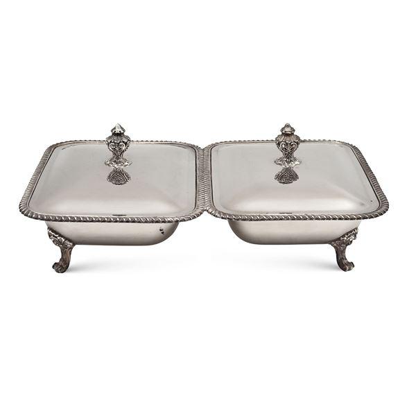 Legumiera doppia in metallo argentato
