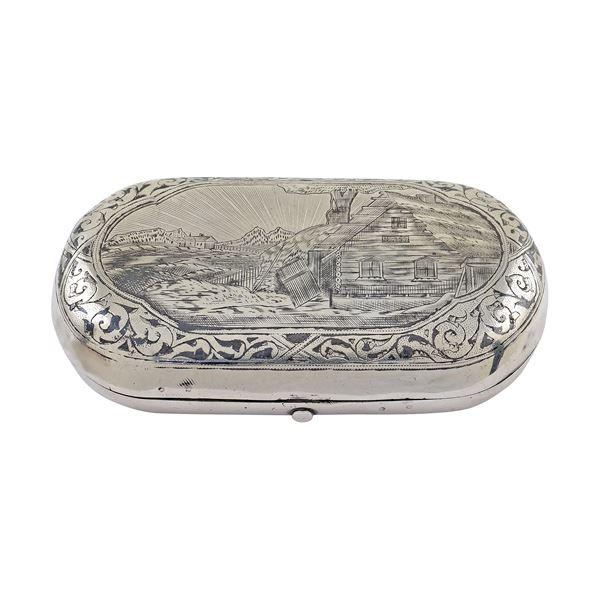 Tabacchiera in argento niellato