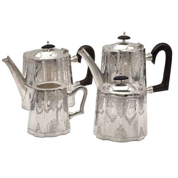 Servizio da the e caffè in metallo argentato (4)