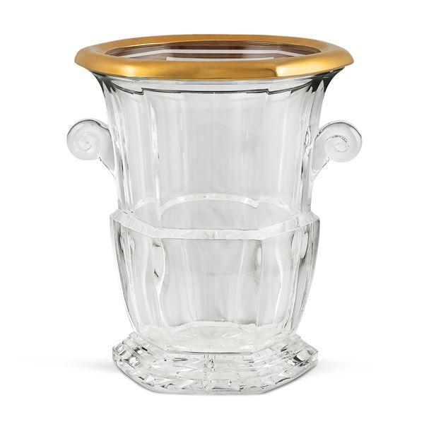 Secchiello portabottiglia in cristallo molato e profilato in oro
