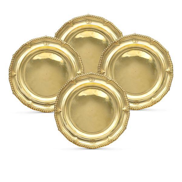 Quattro piatti in argento vermeil, Giorgio III