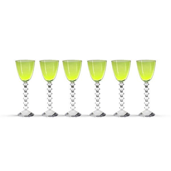 Baccarat, set di bicchieri in cristallo trasparente e verde (12)