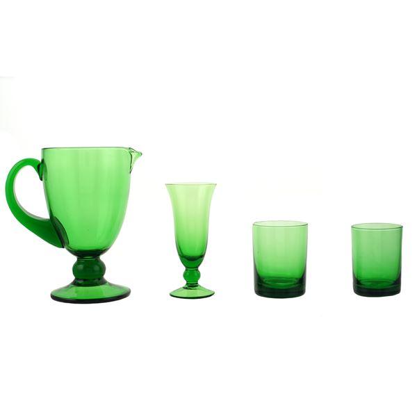 Servizio di bicchieri in vetro colorato verde (33)
