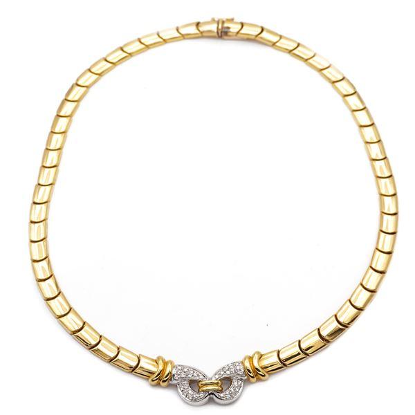 Collier in oro giallo 18kt e diamanti