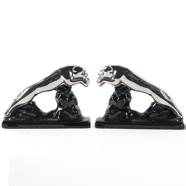 Due sculture pantere fermalibri in ceramica nera e argento