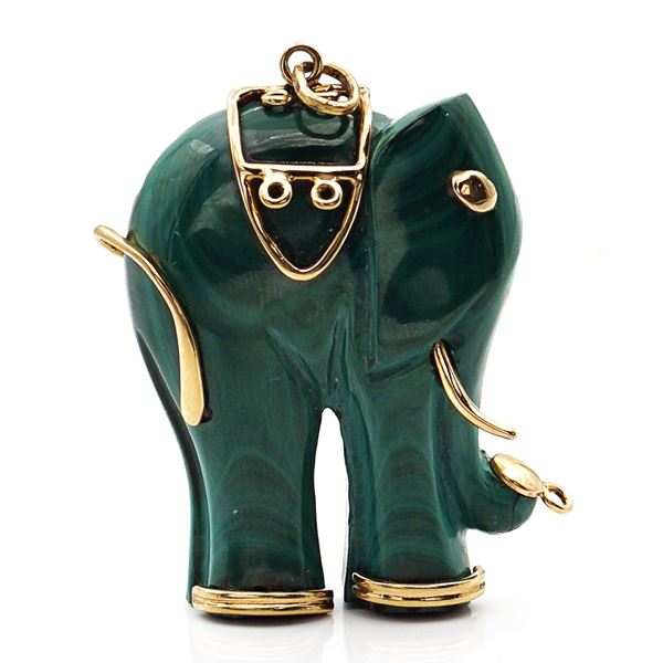 Pendente elefante in malachite e oro giallo 18kt