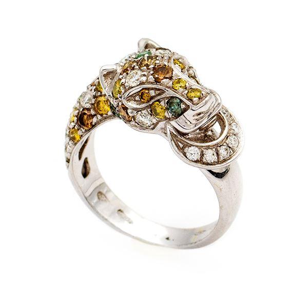 Anello a pantera in oro bianco 18kt e diamanti