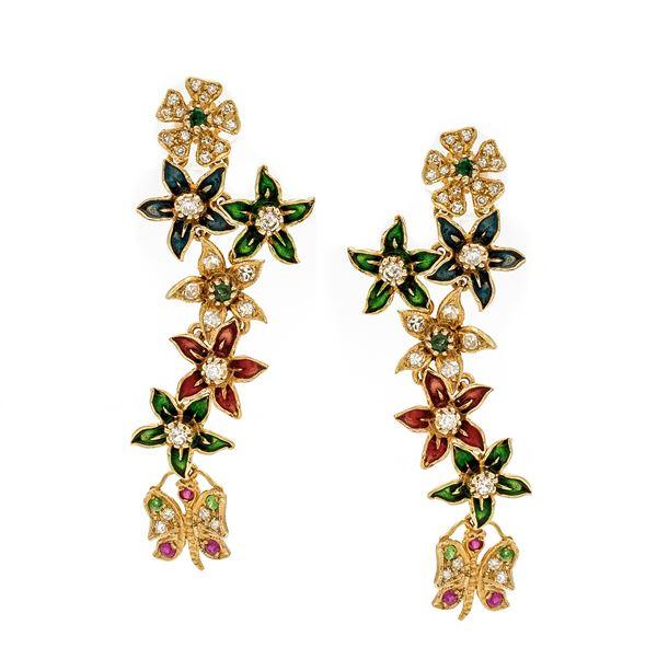 Orecchini pendenti fiori e farfalle in oro giallo 14kt diamanti