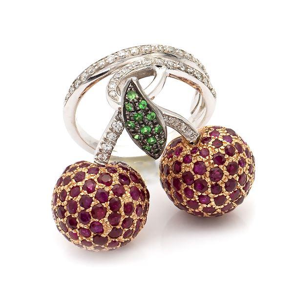 Anello ciliege in oro bianco e rosa 18kt con diamanti