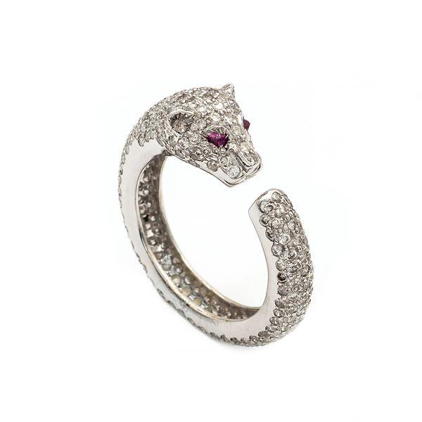 Anello pantera in oro bianco 18kt e diamanti